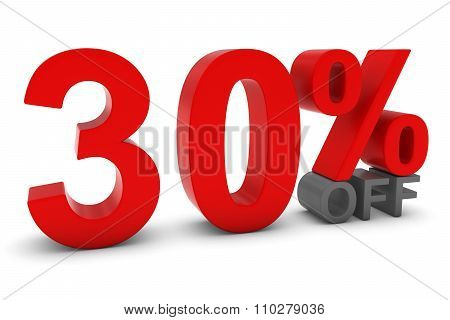 30% Off - Thirty Percent Off 3D Text In Red And Grey