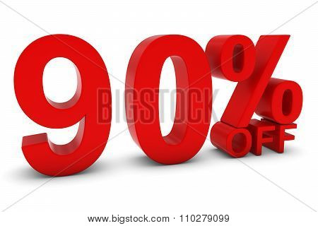90% Off - Ninety Percent Off 3D Text In Red