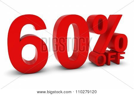 60% Off - Sixty Percent Off 3D Text In Red