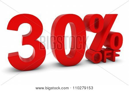 30% Off - Thirty Percent Off 3D Text In Red