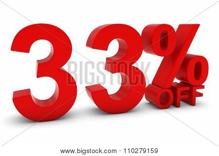 33% Off - Thirty Three Percent Off 3D Text In Red