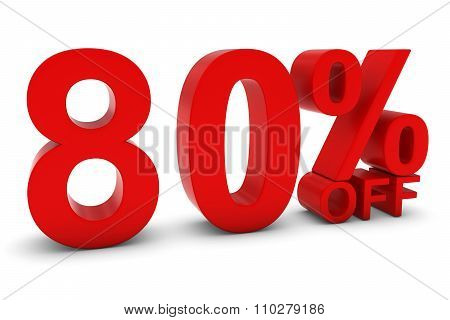 80% Off - Eighty Percent Off 3D Text In Red
