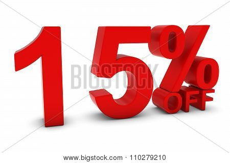 15% Off - Fifteen Percent Off 3D Text In Red