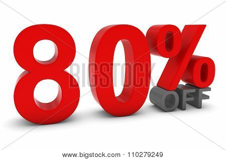 80% Off - Eighty Percent Off 3D Text In Red And Grey