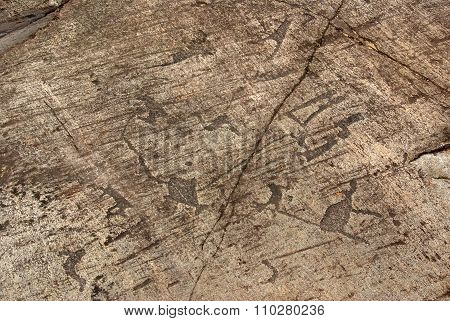 Belomorsk, Republic Of Karelia, Russia - August, 2011: Pictures Of Ancient Man - Petroglyphs In Zala