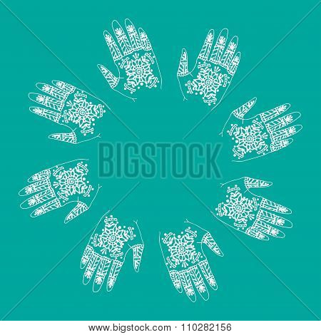 Hands With Indian Mehendi Henna