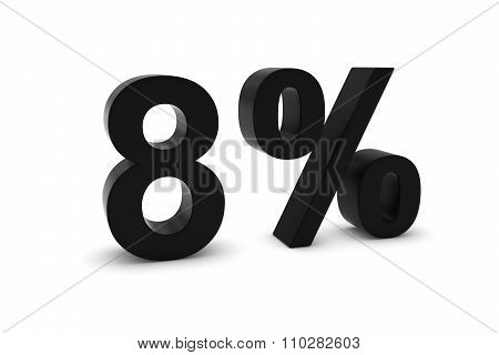 8% - Eight Percent Black 3D Text Isolated On White