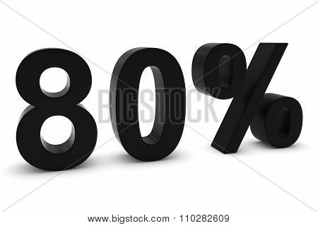 80% - Eighty Percent Black 3D Text Isolated On White