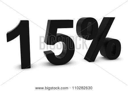 15% - Fifteen Percent Black 3D Text Isolated On White