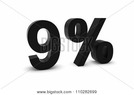 9% - Nine Percent Black 3D Text Isolated On White