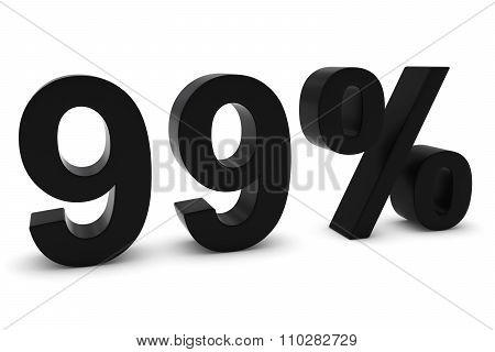 99% - Ninety Nine Percent Black 3D Text Isolated On White