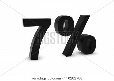 7% - Seven Percent Black 3D Text Isolated On White