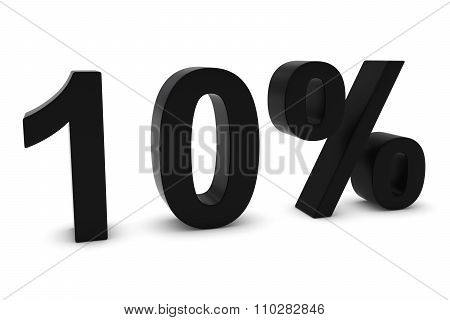 10% - Ten Percent Black 3D Text Isolated On White