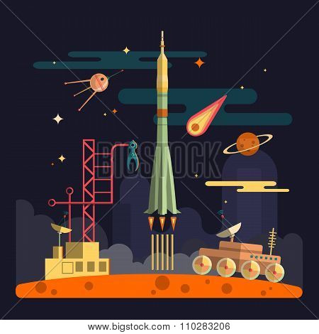 Rocket Launch On Space Landscape Background. Vector Illustration In Flat Design. Planets, Satellite,