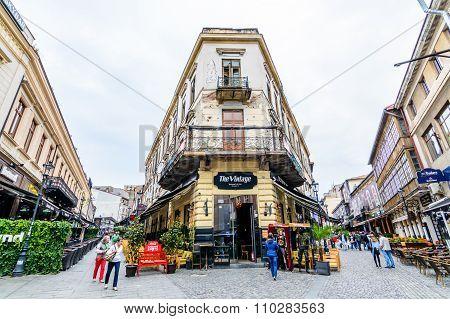 Bucharest, Romania - October 25, 2015: Historical Center, Lipscani Street (centrul Istoric Al Bucure