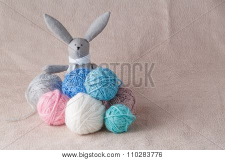 Easter Bunny In Colored Wool Clew