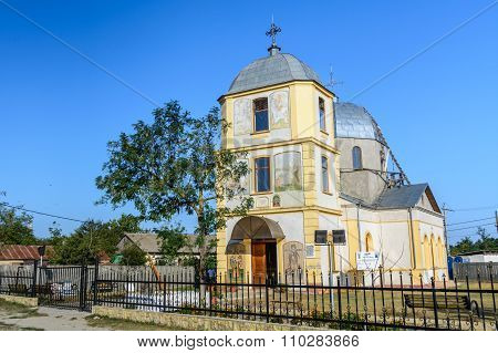 Dobrogea, Romania - 16 October: Sfantu Gheorghe, The Village's Church. Old Church And Simple Buildin