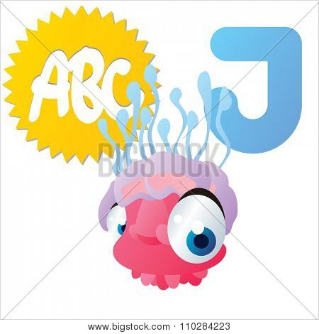 vector isolated comic cartoon animals alphabet: J is for Jelly Fish
