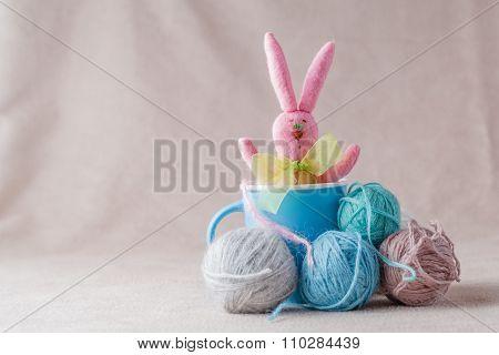 Handmade Bunny On Soft Background