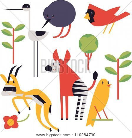 flat cute geometric comic funny animal set for books, apps, stickers, badges, interior design or flash card games for children. Kiwi, cardinal, springbok, okapi, canary, avocet, tree