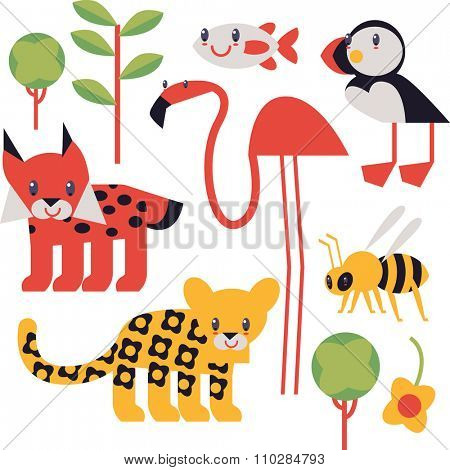 flat cute geometric comic funny animal set for books, apps, stickers, badges, interior design or flash card games for children. Tree, flamingo, puffin, jaguar, lynx, bee