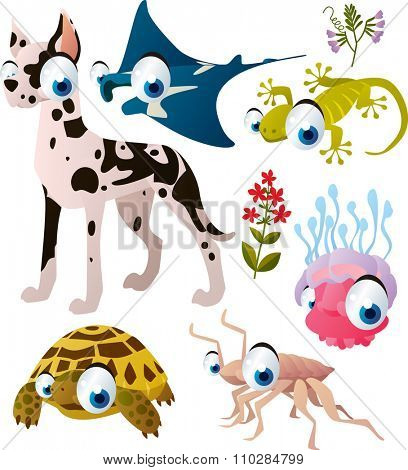 cute vector comic animal collection: dog, manta ray, gecko, jelly fish, tortoise, isopod. Illustration for kids book, apps or interior design, stickers or banners