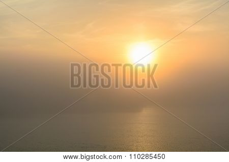 Sunset View From The Deck Of A Boat. Horizontal View Of A Foggy Sun-setting Background From The Deck