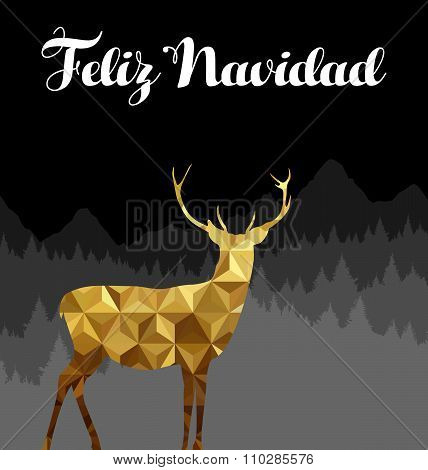 Christmas Spanish Deer Gold Low Poly Navidad Card
