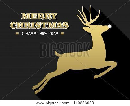 Merry Christmas New Year Gold Deer Silhouette Card