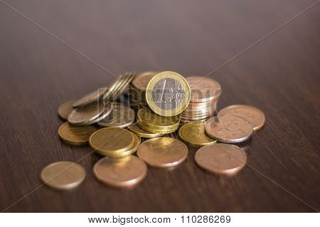 pile of russian coins on a wooden background