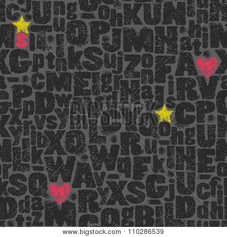 Seamless background ink-stained letters, pink hearts and yellow stars, hand-drawn vector illustration.
