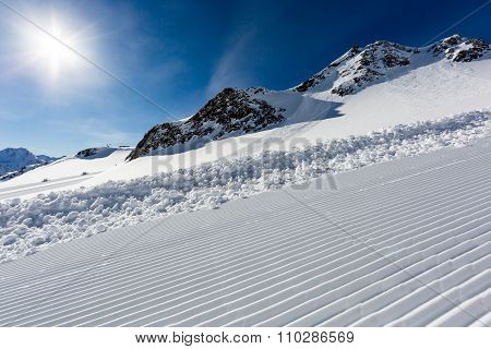 Groomed Ski Run At Ski Resort