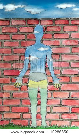 Empty Human Surrealism Watercolor