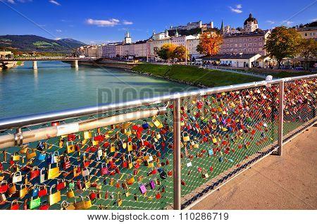 Embankment Salzach In Salzburg. Beautiful Sunny Landscape