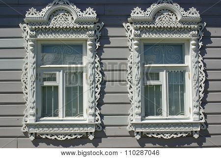 Kolomna, Russia - June, 2012: Beautiful Carved Wooden Windows Architraves