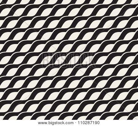 Vector Seamless Black And White Interlacing Wavy Diagonal Lines Pattern