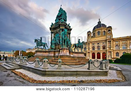 Maria Theresa Square In Vienna. Beautiful Historical Monument
