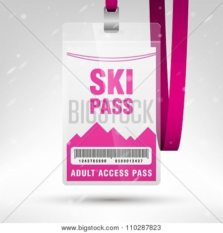 Ski Pass Vector Illustration. Blank Ski Pass Template With Barcode In Plastic Holder With Pink Lanya