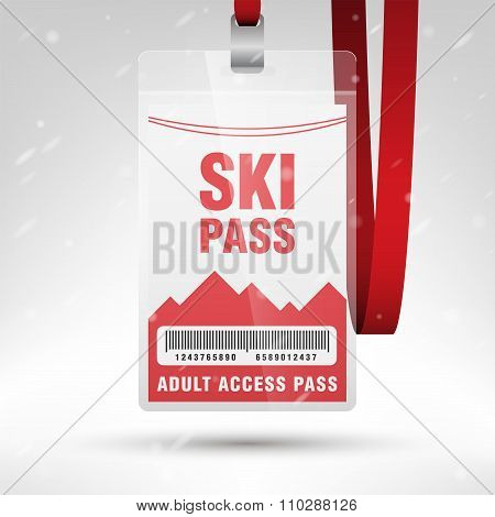 Ski Pass Vector Illustration. Blank Ski Pass Template With Barcode In Plastic Holder With Red Lanyar