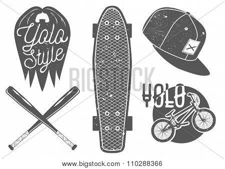 Vector Set Of Vintage Sport Labels, Emblems, Logo. Yolo Lettering And Typography. Skateboard, Baseba