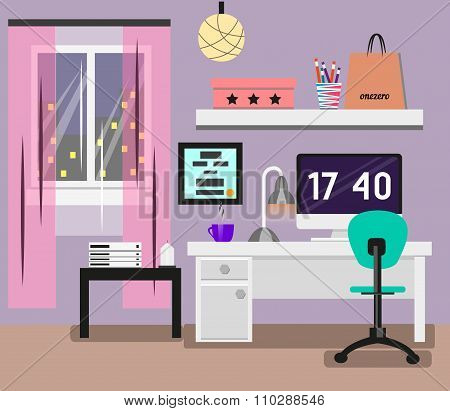 Bedroom Interior flat design. Room in pink colors with window, computer, desk, chair, lamp. Modern v
