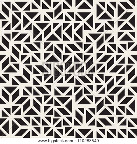 Vector Seamless Black And White Triangle Parallelogram Blocks Irregular Line Grig Pattern