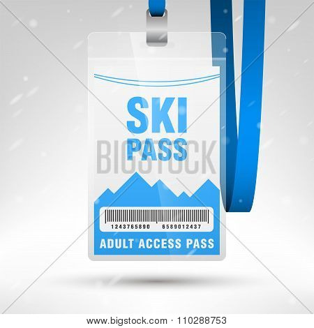 Ski Pass Vector Illustration. Blank Ski Pass Template With Barcode In Plastic Holder With Blue Lanya