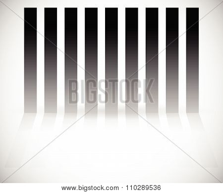 Vertical Bars, Rectangles With Reflection. Abstract Vector Graphics.