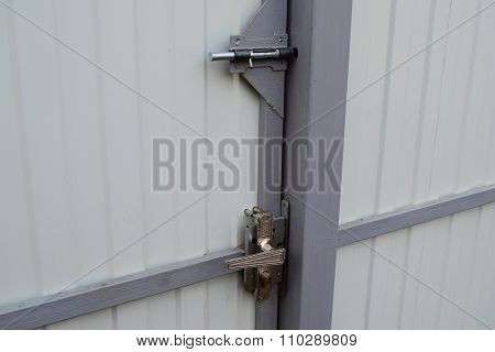 Latch On Gate And The Lock With The Handle