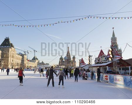 Christmas Ice Rink On Red Square