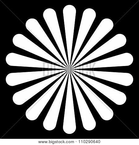 Graphics With Radiating, Converging Lines. Black And White Abstract Vector.