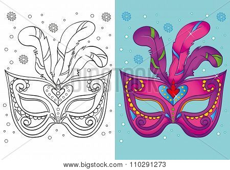 Coloring Book Of Christmas Purple Carnival Mask