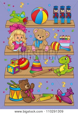 Vector Illustration Of Different Toys On Shelves