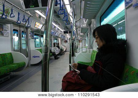 The train in the subway. Seoul. South Korea.